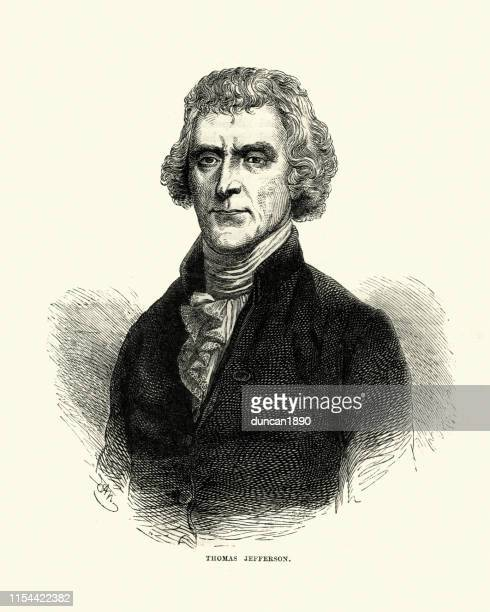thomas jefferson, third president of the united states - thomas jefferson stock illustrations, clip art, cartoons, & icons