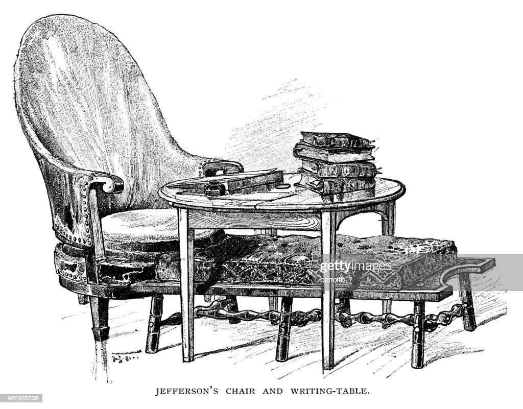 Thomas Jefferson's chair and writting table : stock illustration