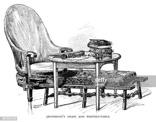 ilustrações, clipart, desenhos animados e ícones de cadeira e mesa de escrita de thomas - thomas jefferson