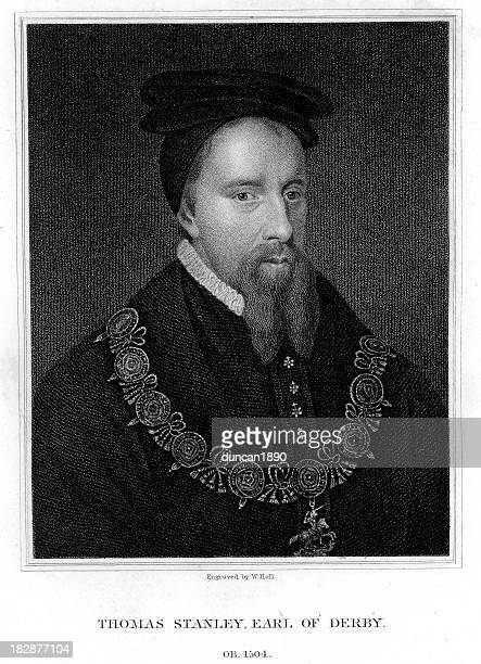 thomas stanley, 1st earl of derby - 16th century style stock illustrations