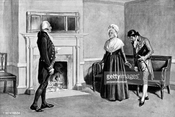 thomas twinings meeting george and martha washington at president's house in philadelphia, pennsylvania, united states - 18th century - 18th century style stock illustrations