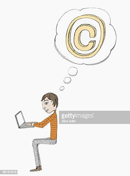 thought bubble with a copyright symbol above a man working on a laptop - thought bubble stock illustrations