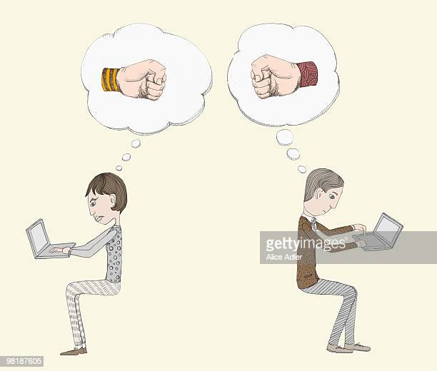 thought bubbles with fists above two people working back to back on laptops - thought bubble stock illustrations