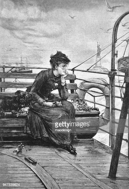 Thoughtful woman sitting on a steam ship bench is looking at the skyline of New York _ 1895