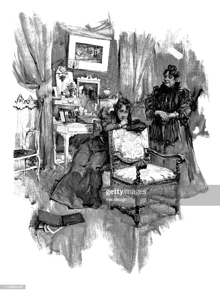 Thoughtful women in the living room - 1896 : stock illustration