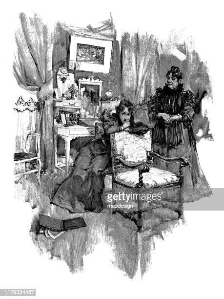 Thoughtful women in the living room - 1896
