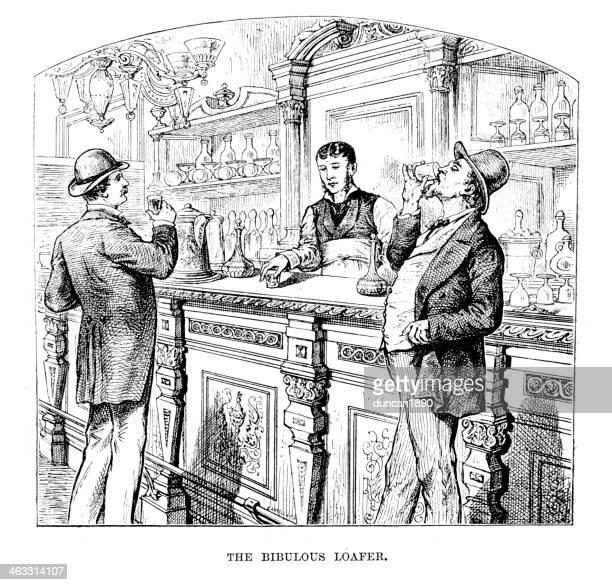 thr bibulous loafer - whiskey stock illustrations