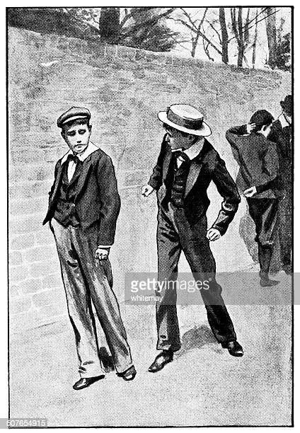 ilustraciones, imágenes clip art, dibujos animados e iconos de stock de amenazado fisticuffs-victorian boys'desacuerdo - bullying escolar