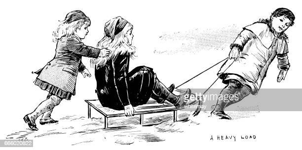 three 19th century children playing with a sledge - tobogganing stock illustrations, clip art, cartoons, & icons
