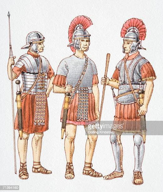 Three 200 AD Roman soldiers, front view.