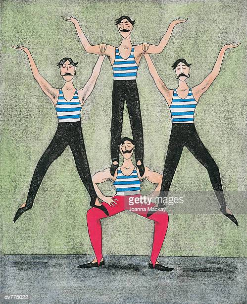 three acrobats standing on another acrobat's legs and shoulders - strength stock illustrations