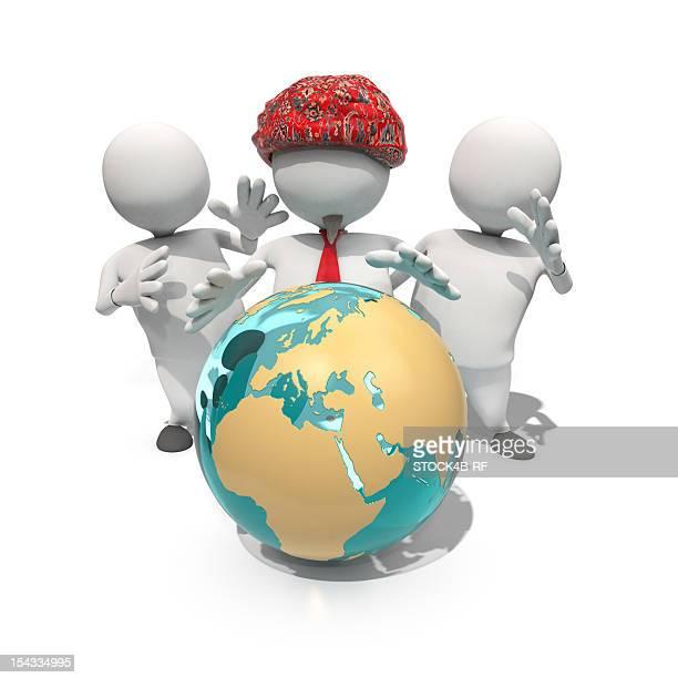 Three anthropomorphic figures standing around globe, CGI
