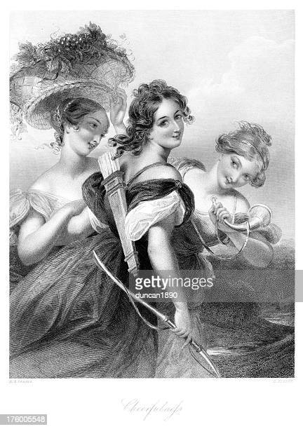 three beautiful young victorian women - three people stock illustrations