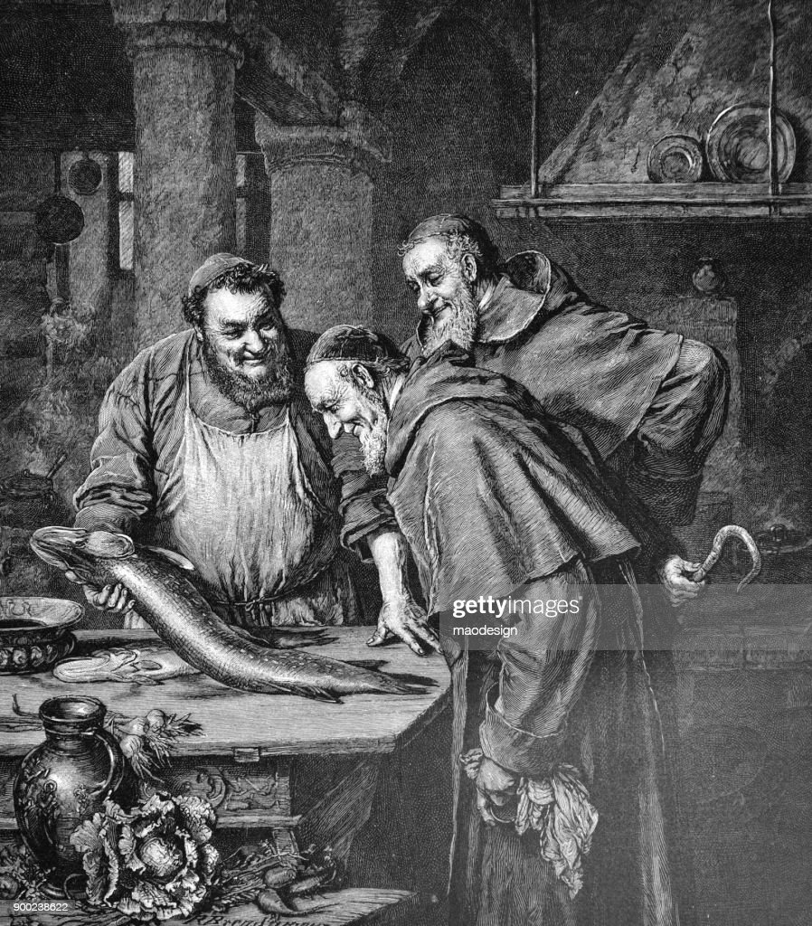 Benedictinos de tres monjes aprecian recién pescaron-1896 : Ilustración de stock