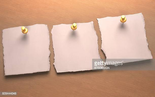 three blank pieces of paper, artwork - thumbtack stock illustrations, clip art, cartoons, & icons