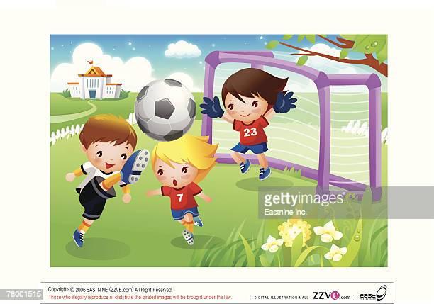ilustrações de stock, clip art, desenhos animados e ícones de three boys playing soccer - futebol infantil