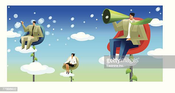 three business executives sitting on chairs in the sky - bohnenranke stock-grafiken, -clipart, -cartoons und -symbole