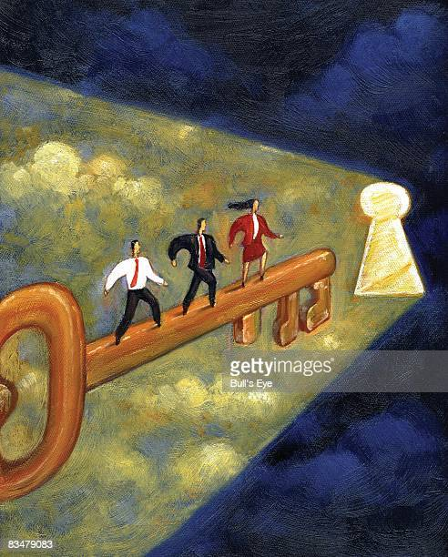 Three business people standing on giant key that is leading to an illuminating keyhole