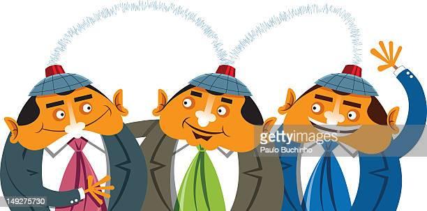 ilustrações de stock, clip art, desenhos animados e ícones de three businessmen reading each other's minds as they wear caps - buchinho