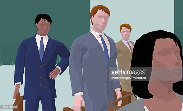 Three businessmen standing behind a businesswoman