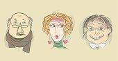 Three cartoon human heads