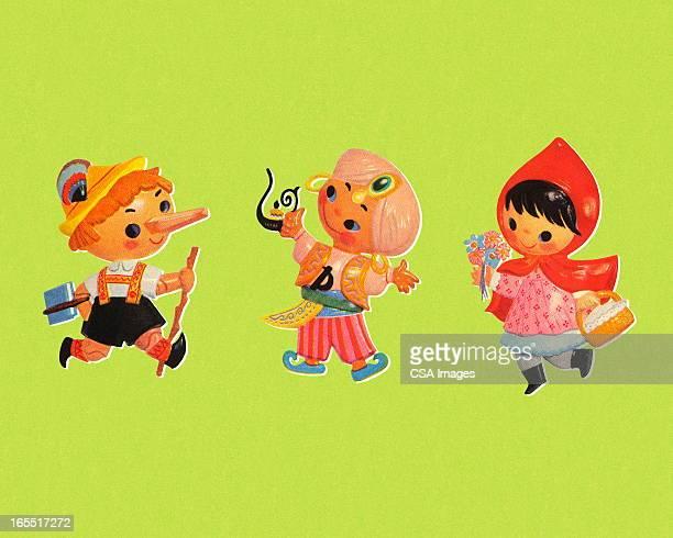 Três caracteres de Histórias de crianças
