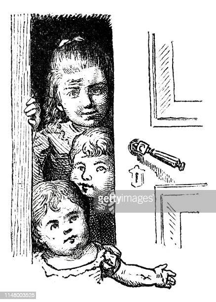 three children looking out of the door - 8 9 years stock illustrations, clip art, cartoons, & icons