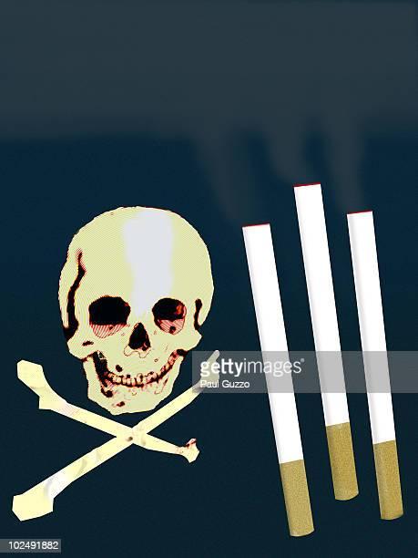 three cigarettes and skull and cross bones - unhealthy living stock illustrations, clip art, cartoons, & icons