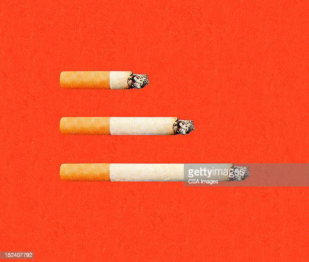 three cigarettes - small group of objects stock illustrations
