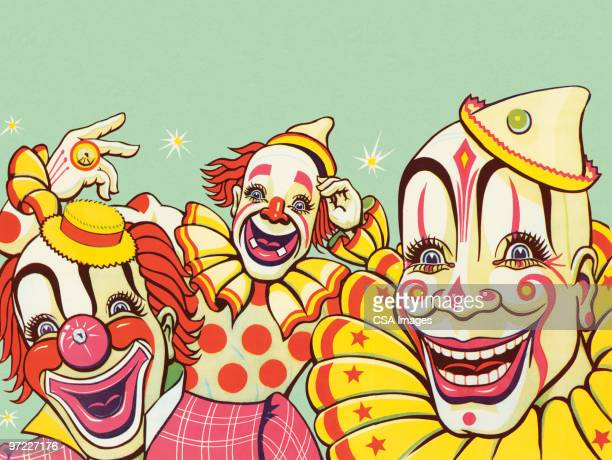 illustrations, cliparts, dessins animés et icônes de three clowns - clown