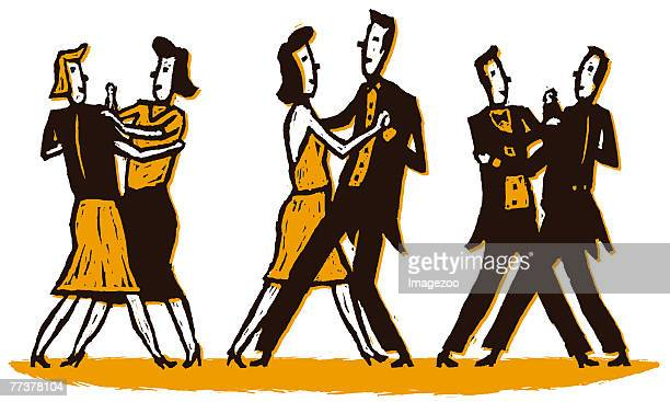 three couples slow dancing - swing dancing stock illustrations