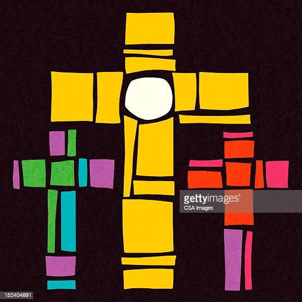 three crosses - resurrection religion stock illustrations, clip art, cartoons, & icons