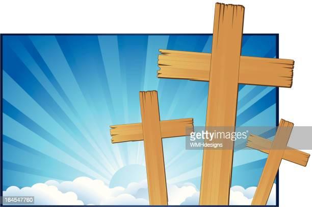 three crosses - holy week stock illustrations, clip art, cartoons, & icons