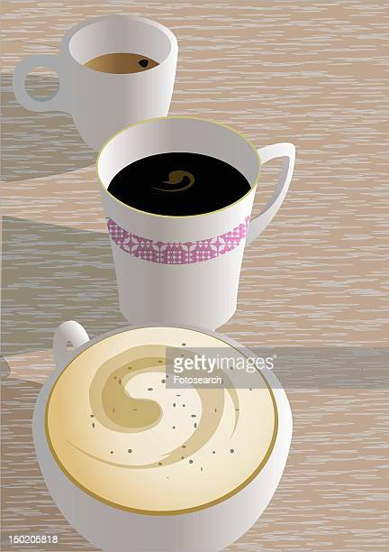 three cups with different types of coffee - black studio点のイラスト素材/クリップアート素材/マンガ素材/アイコン素材