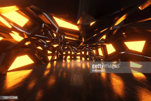 three dimensional render of bizarre corridor inside spaceship or space station - hungary stock illustrations