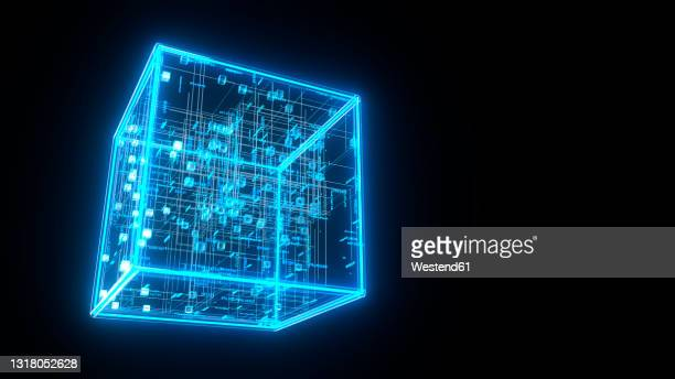 three dimensional render of blue glowing blockchain cube - complexity stock illustrations