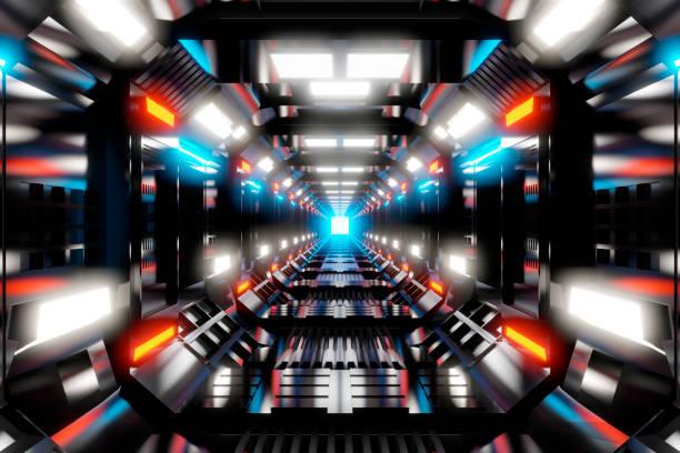 Three dimensional render of brightly illuminated futuristic corridor insidespaceship or space station