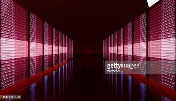 three dimensional render of dark server room - in a row stock illustrations