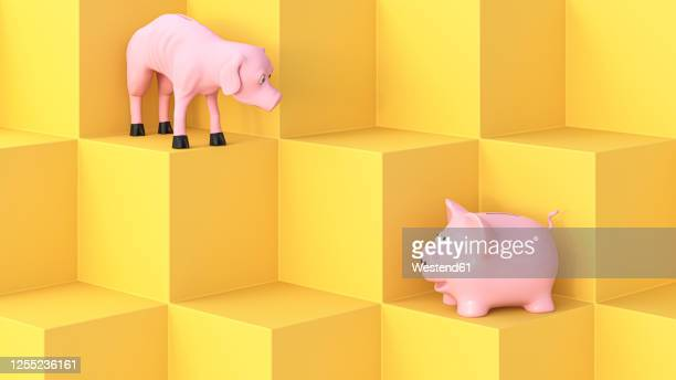 three dimensional render of full and empty piggy banks looking at each other - animal representation stock illustrations
