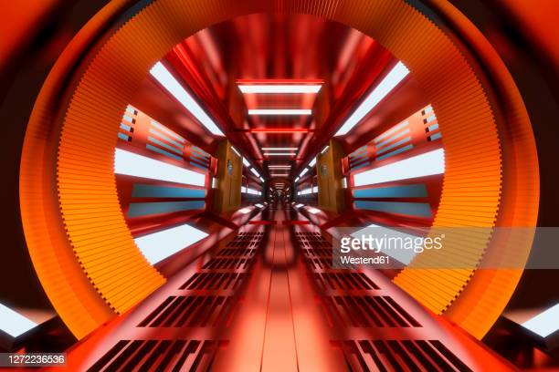 three dimensional render of futuristic corridor inside spaceship or space station - {{asset.href}} stock illustrations