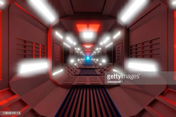 three dimensional render of futuristic corridor insidespaceship or space station - {{asset.href}} stock illustrations
