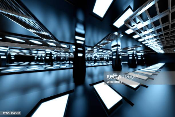 three dimensional render of futuristic interior of spaceship or space station - {{asset.href}} stock illustrations