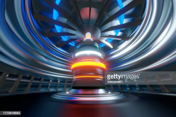 three dimensional render of futuristic nuclear reactor - nuclear energy stock illustrations