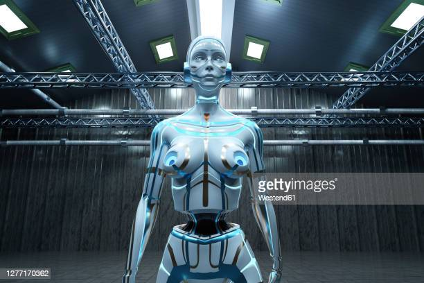 three dimensional render of gynoid standing inside empty warehouse - human representation stock illustrations