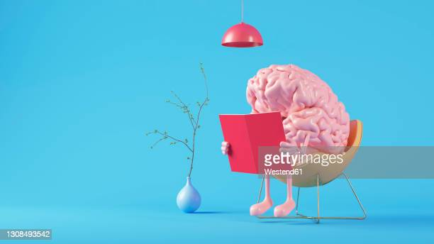 three dimensional render of human brain reading book - leisure activity stock illustrations