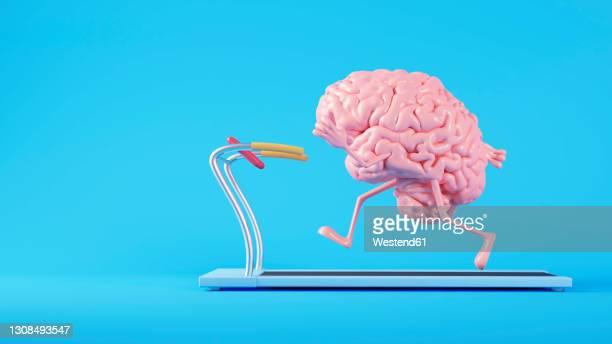 three dimensional render of human brain running on treadmill - clothing stock illustrations