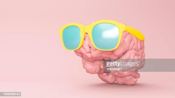 three dimensional render of human brain wearing sunglasses - vacations stock illustrations