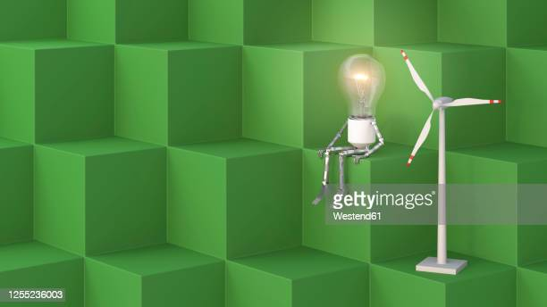 three dimensional render of humanoid light bulb sitting on cubes beside small wind turbine - human representation stock illustrations