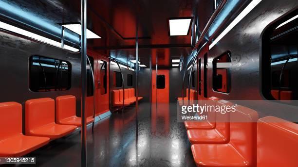 ilustrações, clipart, desenhos animados e ícones de three dimensional render of interior of black and red subway train - trem do metrô