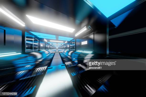 three dimensional render of long straight corridor inside spaceship or space station - {{asset.href}} stock illustrations